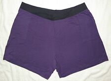 JMS Plus French Terry Two Tone Pocket Shorts Purple with Black Waistband 4X NEW