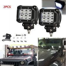 2Pcs 18W LED Flood Work Light Bar Car Truck Adjustable Bracket Driving Headlight