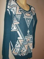 Ecote Womens Size S Geometric Multi-Color Tunic Sweater Long Sleeves