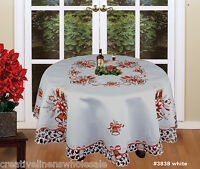 Christmas Embroidered Poinsettia Candle Tablecloth & Napkins WHITE ROUND #3838W