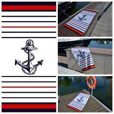 Strandtuch Badetuch Liegetuch Handtuch Saunatuch - Maritim Anker Weiß/ Navy/ Rot