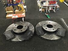 HONDA INTEGRA TYPE R DC5 FRONT BRAKE DISC  CROSS DRILLED GROOVED BREMBO PADS