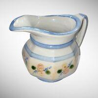 """Vintage Louisville Stoneware Made In Kentucky Pitcher Flower Design 6"""" H 6"""" W"""