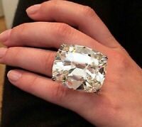 925 Sterling Silver 50ct White Cushion Solitaire Party Cz Ring New Magnifique