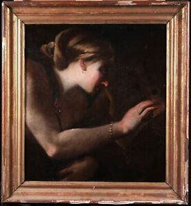 17th CENTURY  ITALIAN OLD MASTER OIL CANVAS - JUNO WITH PEACOCK - FRAGMENT