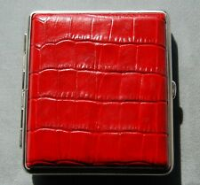 Large Red Crocodile Leather Pocket Cigarette / Personal Case Made in Germany