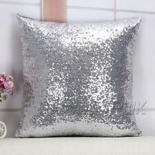 "16"" Magic Mermaid Pillow Case Reversible Sequin Glitter Sofa Cushion Cover Car"