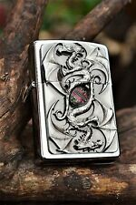 Zippo Lighter - Twin Dragon Eye - European Release - 3D - Rare Wood Insert Case