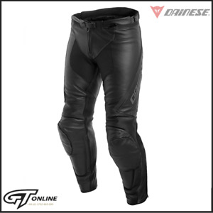 Dainese Assen Mens Leather Motorcycle Bike Trousers Pants | Black / Anthracite