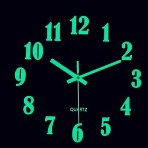 12'' Luminous Wall Clock Glow In The Dark Wood Silent Quartz Home Kitchen Clock