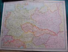 1922 LARGE ANTIQUE MAP- CENTRAL EUROPEAN STATES-POLITICAL
