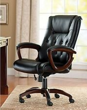 Executive Office Chair Business Home Headrest Lumbar Support Leather Seat Arm