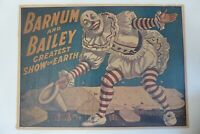 P-5 – 1917 – Barnum & Bailey – Clown Standing over Tents – Blue Background