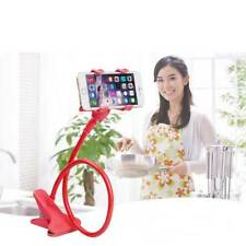 Flexible 360 Clip Mobile Cell Phone Holder Lazy Bed Desktop Bracket Stand Red