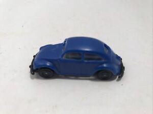 """Vintage Mini Plastic Blue VW Volkswagen Beetle Bug 1-7/8"""" long RARE FIND"""