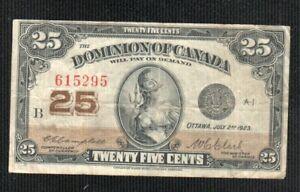 DOMINIO  OF CANADA  25 CENTS 1923