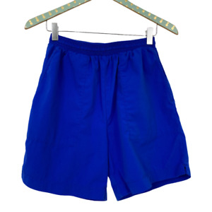 Lands End Padded Cycling Shorts Womens Small 6/8 Blue Lined Bicycle Nylon Hiking
