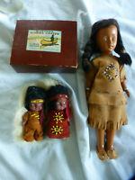"vintage whetung Ojibwa Native American dolls 4.5"" & 11"" indian doll"