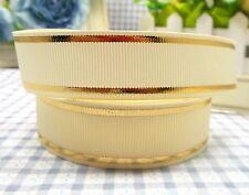 1M X 22mm Grosgrain Ribbon Craft DIY Cake Decoration Hair Bow - Gold On Cream