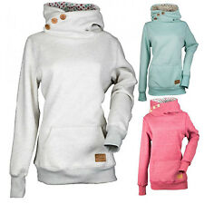 Women High Neck Button Warm Hoodie Ladies Long Sleeve Sweatshirt Jumper Pullover