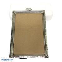"Vintage Silver Tone 4.5""x6.5"" Ornate Decorative Photo Picture Frame"