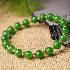 8MM Natural Green JADE Jadeite Round Beads Stretch Bracelet Bangle 7.5'' J3223