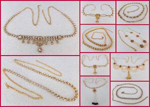 Ethnic Women Hip Waist Belt Saree Sari Chain Golden Cz Indian Kamr Bandh Jewelry