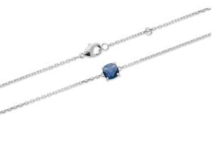 Bracelet Cristal Sertie 4 Griffes Bleu Saphir Argent Massif 925/1000 Rhodié