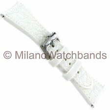 26mm Glam Rock High Quality Curved End White Textured Soft Silicone Watch Band