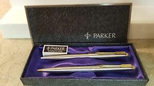"""Parker 75 stainless steel & gold pen & pencil set """"Arrow"""""""