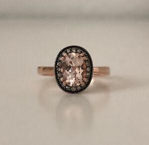 Morganite and champagne diamond ring 10k rose gold