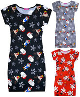 Girls Christmas Midi Dress Kids New Red Black Grey Xmas Dresses Ages 7-13 Years