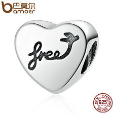 Bamoer Authentic 925 Sterling Silver Thread Charm Heart Of Freedom fit bracelet