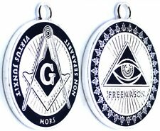 MASONIC COLLAR SILVER DOUBLE SIDED JEWEL Freemason Pendant Necklace
