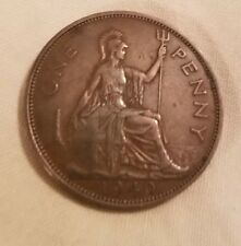Uk Great Britain 1940 One Penny King George Vi British Coin