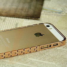 Luxury Champagne Gold Metal Aluminum Bumper Frame Shell Case Cover For iPhone 5S
