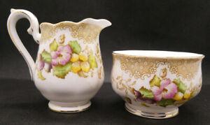 "Vintage Royal Albert ""Lovelace""  Mini Creamer and Sugar Dish"