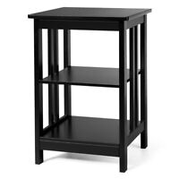 3-tier Side Table Nightstand  Sofa End Table W/ Baffles and Round Corners Black