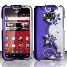 For LG Optimus Elite LS696 Rubberized HARD Case Phone Cover Purple Silver Vines