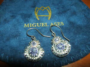 MIGUEL ASES SILVER & LILAC BEADED & SWAROVSKI EARRINGS & ORIGINAL BLUE POUCH-NWT