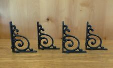 "4 BROWN ANTIQUE-STYLE 5.5"" SHELF BRACKETS RUSTIC CAST IRON WAVE DESIGN wall"
