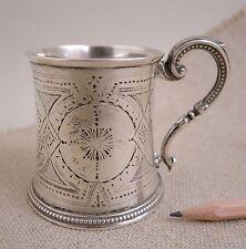 1871 Sheffield Sterling Silver Cup Tankard Engraved Roberts Belk England Antique