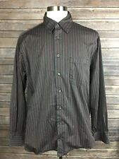 Burberry London Red Striped Men's Collared Long Sleeve Shirt Sz L Made In USA