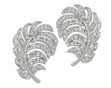 Kenneth Jay Lane Crystal Feather Clip Earring New
