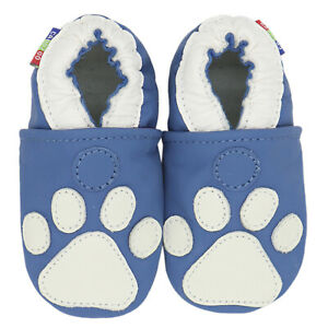 carozoo paw dark blue 0-6m soft sole leather infant baby shoes