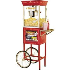 "59"" Theater Concession Popcorn Cart, Vintage 6oz Kettle Pop Corn Maker & Stand"