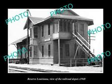 OLD LARGE HISTORIC PHOTO OF RESERVE LOUISIANA THE RAILROAD DEPOT STATION c1940