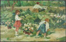 """Ancien Tableau """"Enfants dans un Parc"""" Peinture Huile Antique Oil Painting Old"""