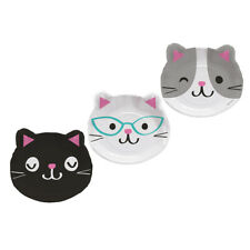Purr-Fect Kitty Kitten Birthday Party Supplies Cat Shaped Lunch Dinner Plates