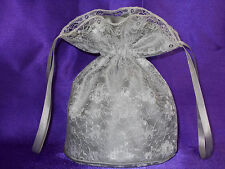 Silver satin and ivory lace dolly bag for bridesmaids /eveningwear / prom